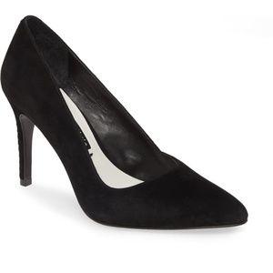 $295 Alice + Olivia Dina Black Suede Heel Pumps